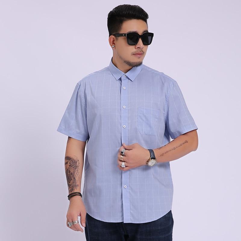 2020 NEW Men Super Large Fashion Male Cotton Oversized Formal Summer Men's Shirt Short Sleeve High Quality Plus Size 8XL 7XL 6X