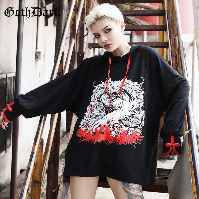 Goth Dark Print Loose Grunge Punk Gothic Sweatshirt Harajuku Autumn 2019 Hoodies Longsleeve Aesthetic Strap Fashion Patchwork in Hoodies amp Sweatshirts from Women 39 s Clothing