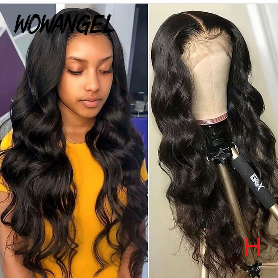 WOWANGEL Deep Parting 13*6 Lace Frontal Wigs Body Wave Wig Invisible Wavy 250 Density Lace Front Human Hair Wigs Remy Brazilian