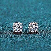 BOEYCJR 925 Klassische Silber 0,5/1ct D farbe Moissanite VVS Feine Schmuck Diamant Stud Ohrring Mit zertifikat für Frauen geschenk