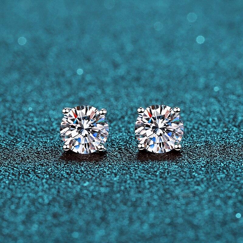 BOEYCJR 925 classique argent 0.5/1ct D couleur Moissanite VVS bijoux fins diamant boucle d'oreille avec certificat pour les femmes cadeau