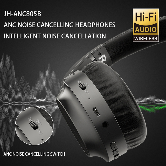 ANC Noise Cancelling Headphones Bluetooth Wireless Gamming Headset Gamer PC 3.5mm Wired PS4 Earphone Deep Bass for Laptop Tablet 3