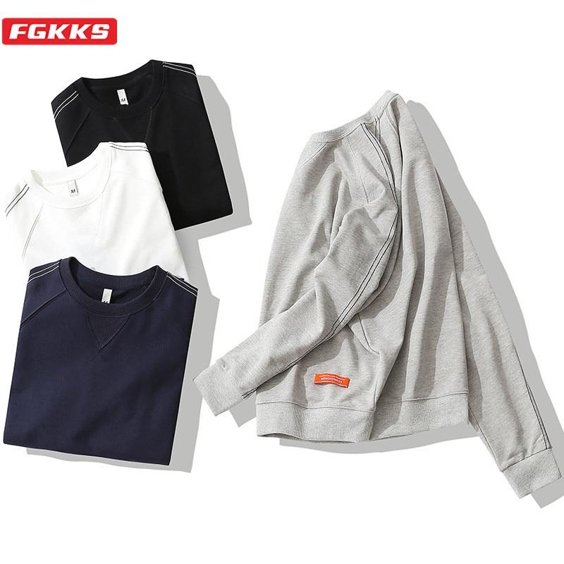 FGKKS Fashion Brand Men Harajuku Sweatshirts Men's Simple O-Neck Wild Sweatshirt High Street Solid Hoodie Sweatshirt Male