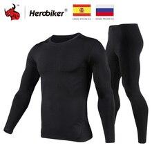 HEROBIKER, мотоциклетный комплект термобелья, мужские мотоциклетные лыжные зимние теплые подштанники, топы и штаны, комплект