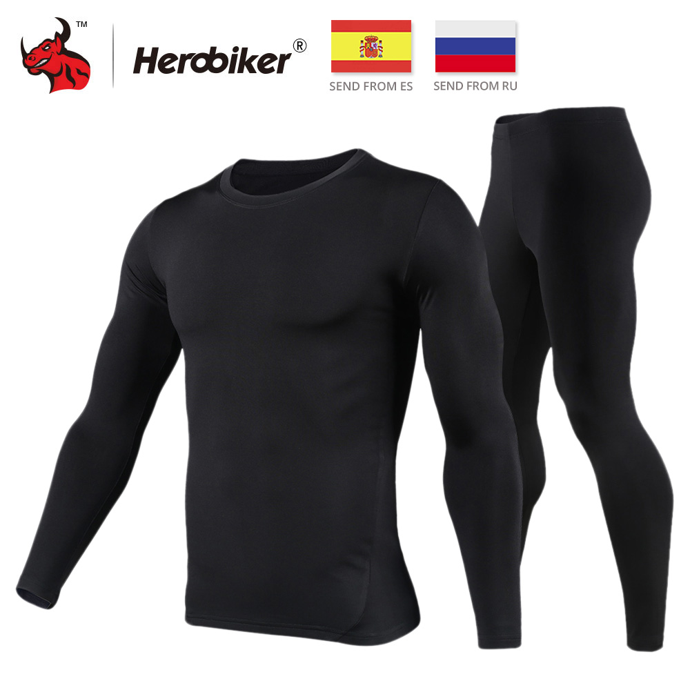 HEROBIKER Motorcycle Thermal Underwear Set Men's Motorcycle Skiing Winter Warm Base Layers Tight Long Johns Tops & Pants Set