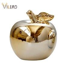 Vilead cerâmica golden apple figurinhas para o natal frutas decoração modelo ornamentos de escritório em casa decoração do desktop acessórios presente
