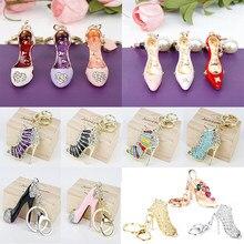Porte-clés de sac à main en cristal pour femmes, strass, talon haut, chaussure, pendentif, Kawaii