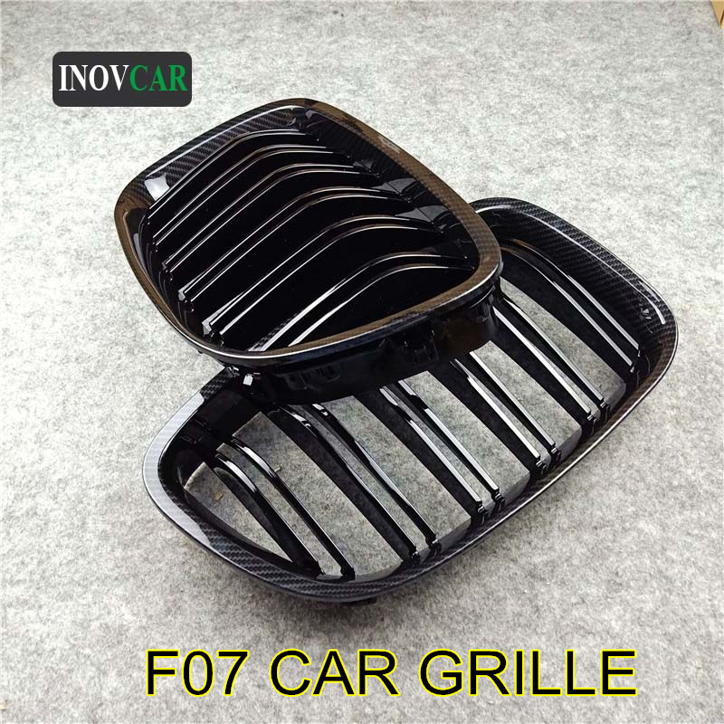 2 Pcs Gloss M Color Black Car Dual Slat Line Kidney Grille For 5 Series <font><b>GT</b></font> <font><b>F07</b></font> 2009-2016 ABS Car Styling Front <font><b>Bumper</b></font> Mesh Grill image