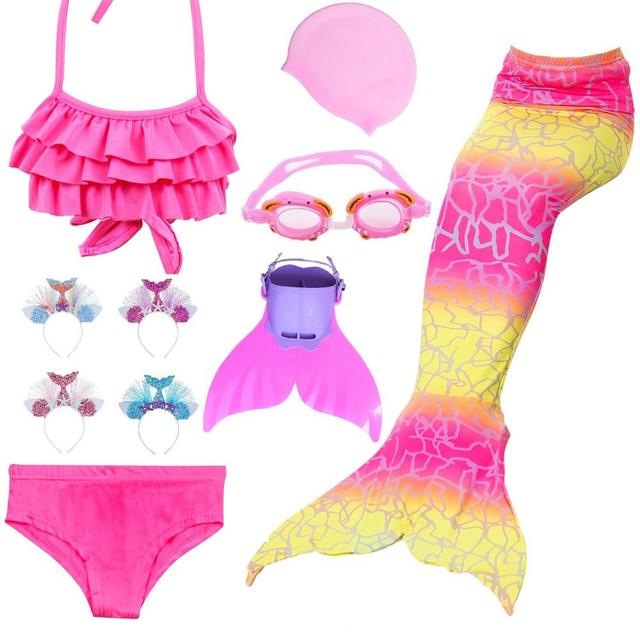 Novedad en bañador para niños niñas sirena con cola de sirena, traje de baño Bikini para niñas con aleta, bañador Monofin