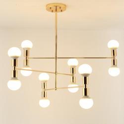 12-światła nowoczesny ze złota metalowe żyrandole proste lampy sufitowe lampa wisząca