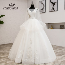 2020 New Korean Lace O-Neck Muslim Wedding Dresses Autumn Bridal Gown Wedding Gowns robe de mariage With shawl 08