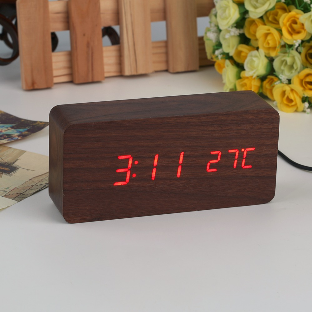 4 Colors Large Size LED Wooden Alarm Clocks with Thermometer Rectangle Table Clocks Digital Clock Classic LED Wooden Clocks image