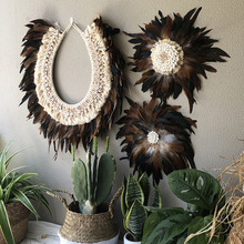 Creative Natural Chicken Feather Organic Material Hand-woven Home Decoration Nordic  Wall Hanging Decor