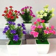 Имитация в горшках поддельный цветок в горшках маленький вишневый цветок бонсай набор имитация зеленого растения мини-орнамент зеленое растение