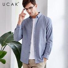UCAK Brand Cotton Shirt Men 2019 New Arrival Autumn Streetwear Fashion Business Casual Shirts Long Sleeve Camisa Masculina U6004