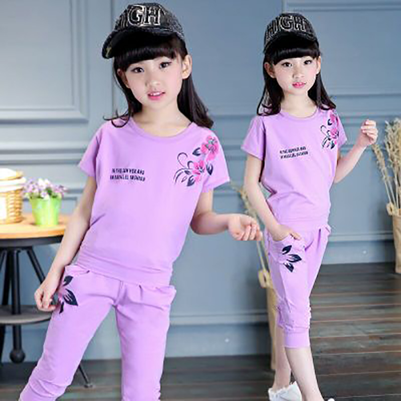 2Pcs Flower Alphabet Print Set Children Clothing For Girls Clothes Suits Summer Fashion Girl Clothing Casual Outdoor Sportswear