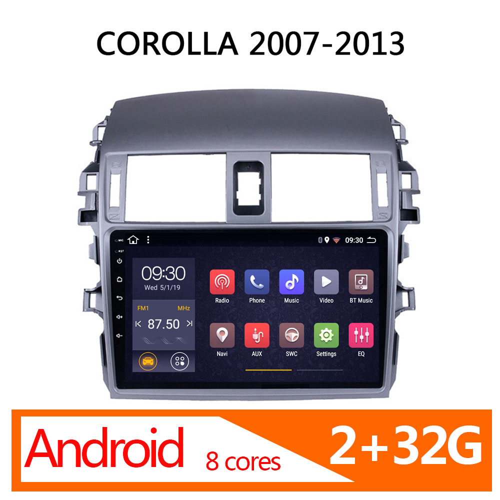 Toyota Corolla android 2 용 차량용 멀티미디어 32G 8 코어 2007 2008 2009 2010 2012 2013 1 din central navigator ator automagnitol stereo image