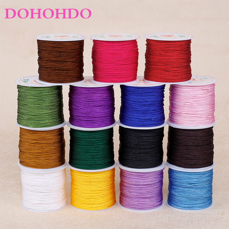 Jewelry Making Accessories For DIY Braided Bracelet 45M 0.8mm Nylon Cord Cotton Cord Chinese Knot Tassels Thread Beading String