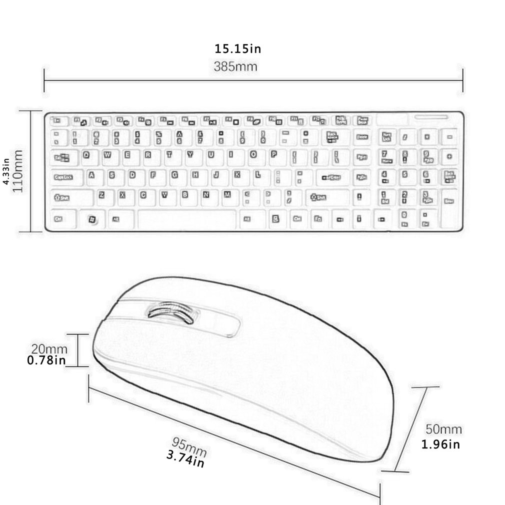 Wireless Keyboard And Mouse Mini Multimedia Keyboard Mouse Combo Set For Notebook Laptop Mac Desktop Office Supplies-5