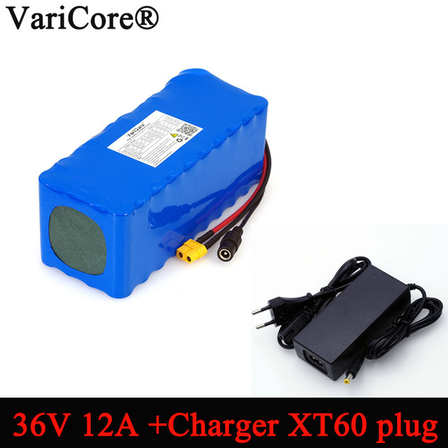 VariCore 36V 12Ah 18650 Li ionen akku 10S4p Balance auto Motorrad Elektrische Auto Fahrrad Roller mit BMS + 2A Ladegerät