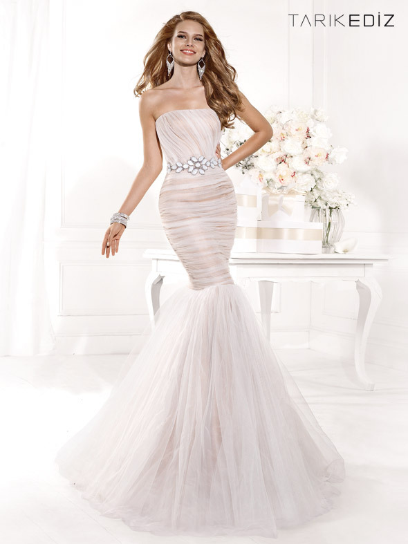 Mermaid 2018 Sexy Strapless Tulle Pageant Floor Length Vestido De Festa Long Formal Gown Prom Party Mother Of The Bride Dresses