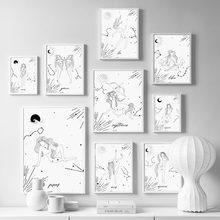 Zodyak işaretleri bekçi kız siyah beyaz duvar sanatı tuval yağlıboya İskandinav posterler ve baskılar duvar resimleri için oturma odası ev dekor