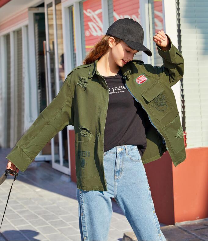Autumn Womens washed denim long parkas denim jeans jacket long Coats outwear