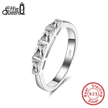 Effie Queen AAAA Cubic Zircon Jewelry Finger Rings with 4 Big Square Crystal Stone  925 Silver Ring Jewelry Party Gift DSR182 effie queen trendy big charming women ring 196 pieces zircons paved smoothly real luxury crystal finger ring for party dr123
