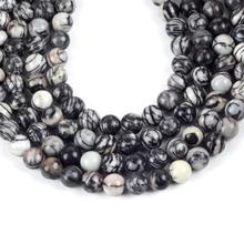 Natural Black Web Jaspers Round Loose Beads For Jewelry Making 4-12mm Spacer Fit Diy Bracelet Necklace Accessory 15''