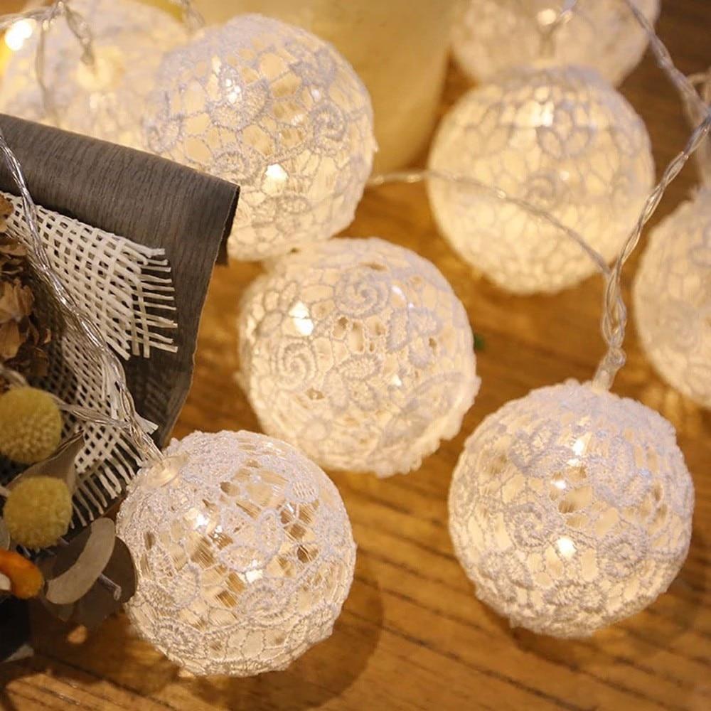 1.5M Ball Decoration Light String 10 LED Bud Silk Ball Shape String Lights Wedding Party Christmas Curtain Hanging Decor Lamp