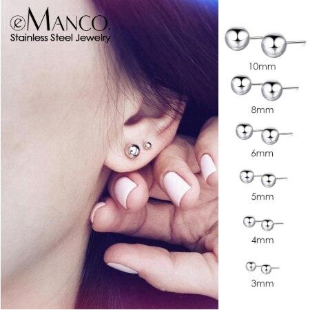 E-Manco, корейский стиль, серьги-гвоздики из нержавеющей стали для женщин, минималистичные маленькие серьги, модные ювелирные изделия для девушек, изящные серьги, набор