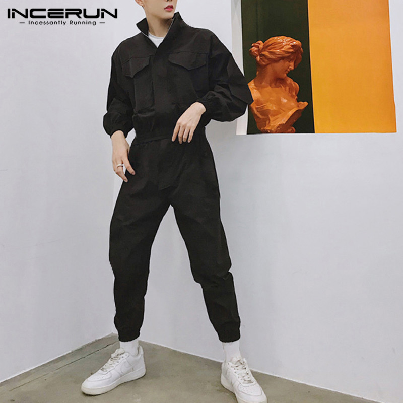 INCERUN Men Jumpsuit Joggers Long Sleeve Romper Zipper Fashion Cargo Overalls Cool Solid Streetwear Hiphop Casual Pants Men 2020