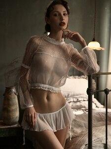 Image 4 - Sexy Pyjama Voor Vrouwen Zomer Slanke Transparant Kant Netto Lange Mouwen Tops En Ruches Verleiding Shorts Sexy Twee Stuk set