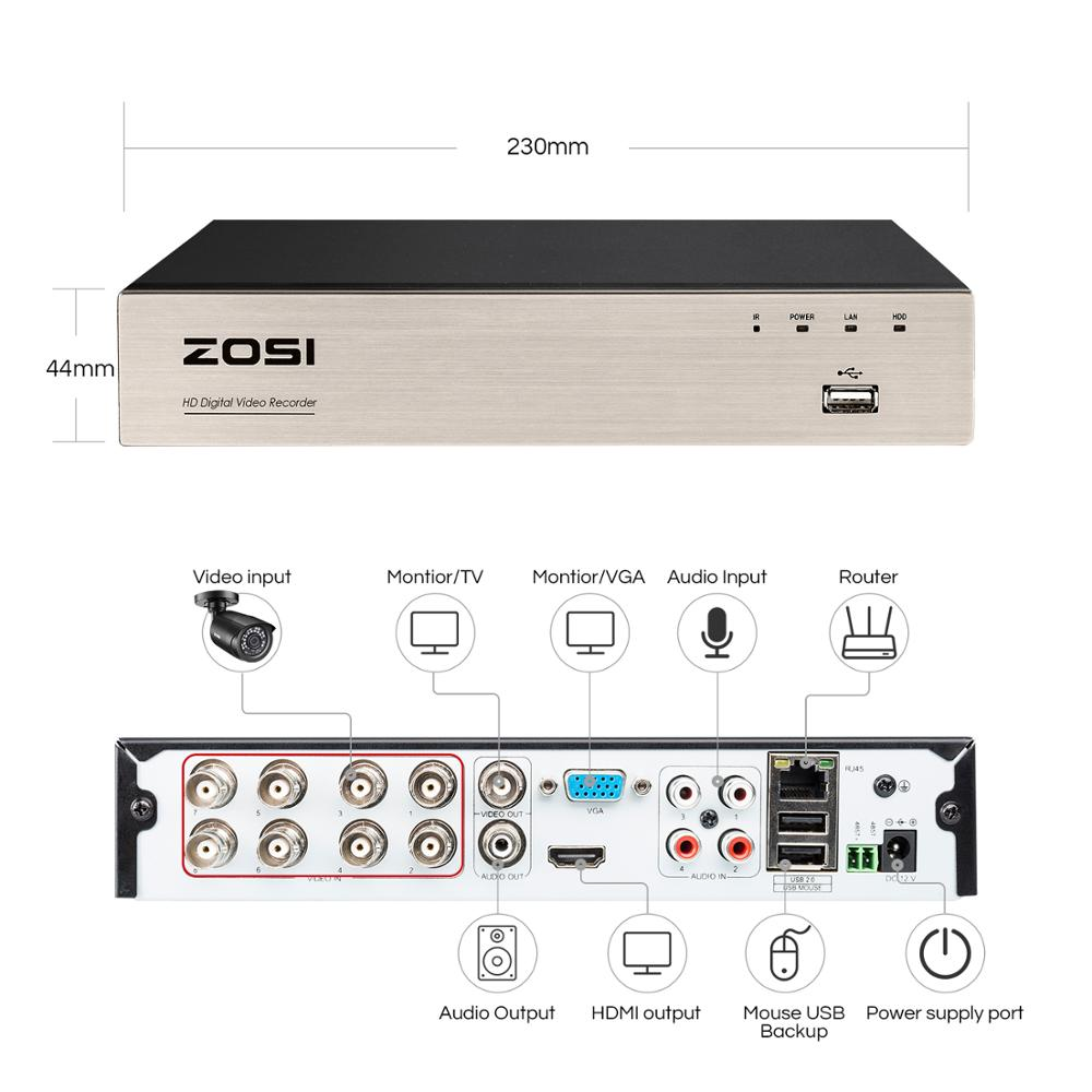 cheapest ZOSI 8CH H 264 NVR 1080P IP Network POE Video Record IR Outdoor CCTV Security Camera System Home video Surveillance kit