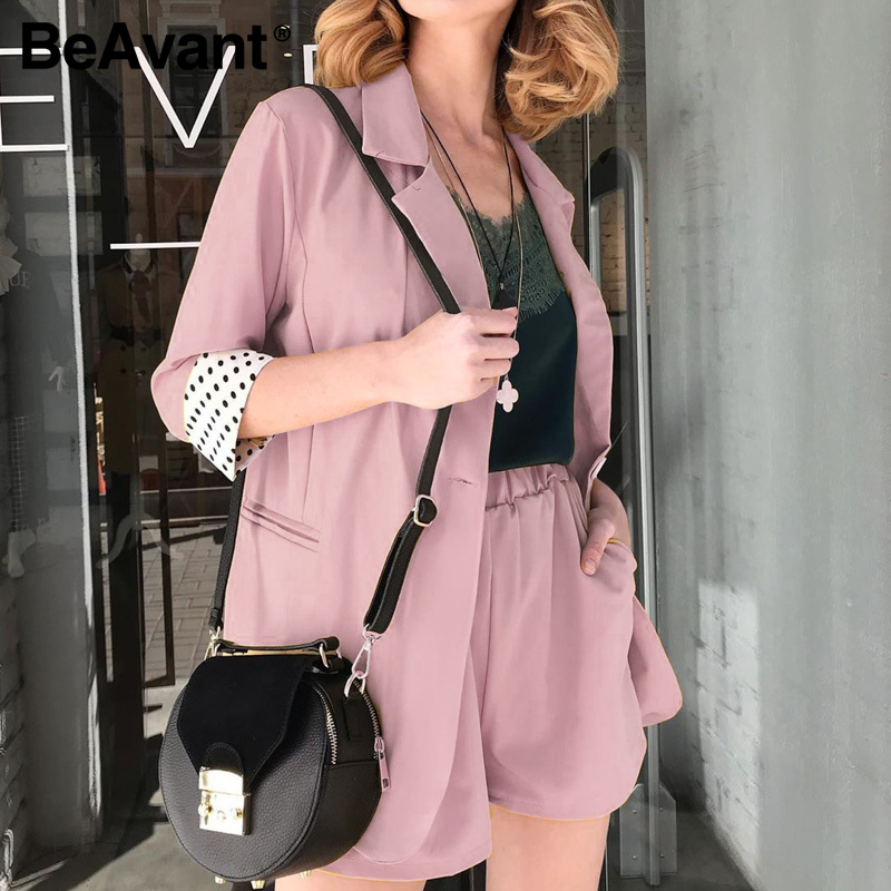 BeAvant Streetwear Two-Piece Blazers Sets Female Spring Summer Button Polka Dot Blazer Shorts Set Women 2020 OL Blazer Suits