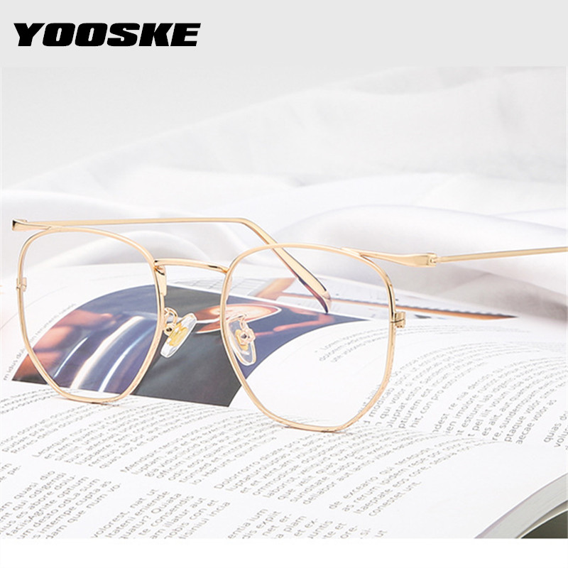 YOOSKE Anti-blue Light Glasses Frame Men Women Optical Eyeglasses Frames Vintage Metal Clear Lens Spectacles Eyewear