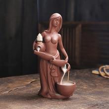 Tart Warmer Mermaid Backflow Incense Fountain Ceramic Incense Burner Smoke Waterfall Room Decoration Best for Valentine's Gifts