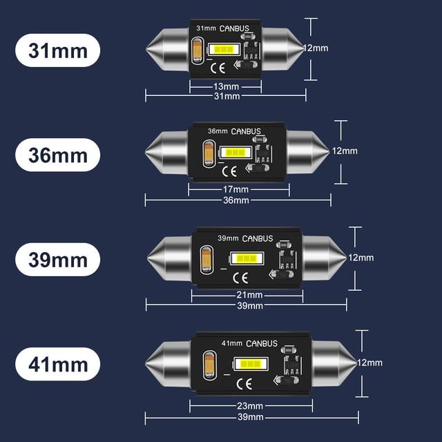 C5W LED CANBUS C10W led bulb Festoon 31mm 36mm 39mm 41mm CSP Car Interior Dome Lamp License Plate Reading Light White 12V 6