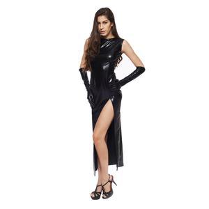 Image 5 - セクシーな女性フェイクレザースプリットロングドレスと肘の長さの手袋 Wetlook 愛人フェチ再生キャットウーマンの衣装