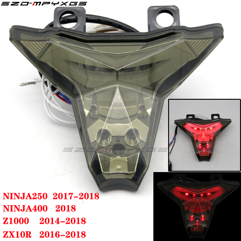 New taillights for motorcycles for Kawasaki NINJA 250r NINJA 400 Z1000 ZX10R taillights LED brake lights turn signal flash
