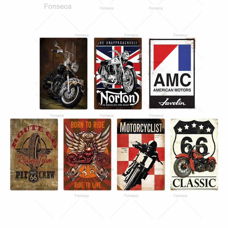 Cartel de chapa de Metal para motocicleta placa con indicaciones Metal Vintage, decoración de pared Retro para garaje Bar Pub Man Cave, placa decorativa de pintura de hierro