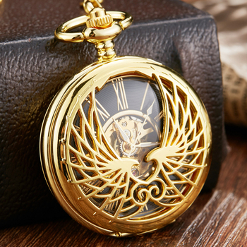 Luxury Mechanical Pocket Watch with Chain Angel Wings Hollow Hand Winding Pendant Clock Men Women Lover Flip Fob Watches golden black sliver antique hollow automatic mechanical pocket watch fob chain hand winding full steel sculpture for men wome