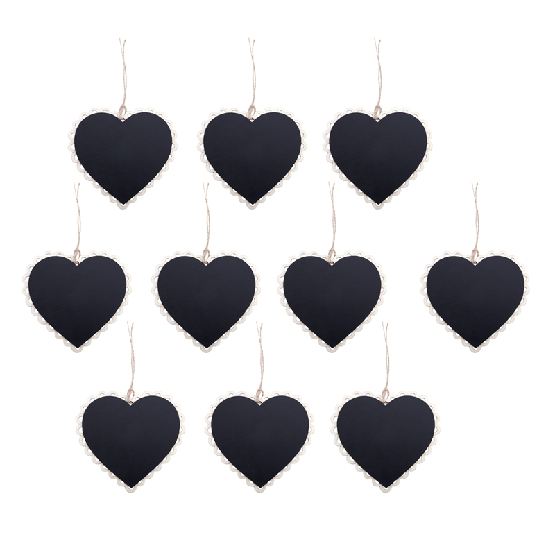 10 Pieces Mini Hanging Chalkboard Wood / Slate Chalkboard Black Hanging Wood Writable Erasable Blackboard In Message Board Wood