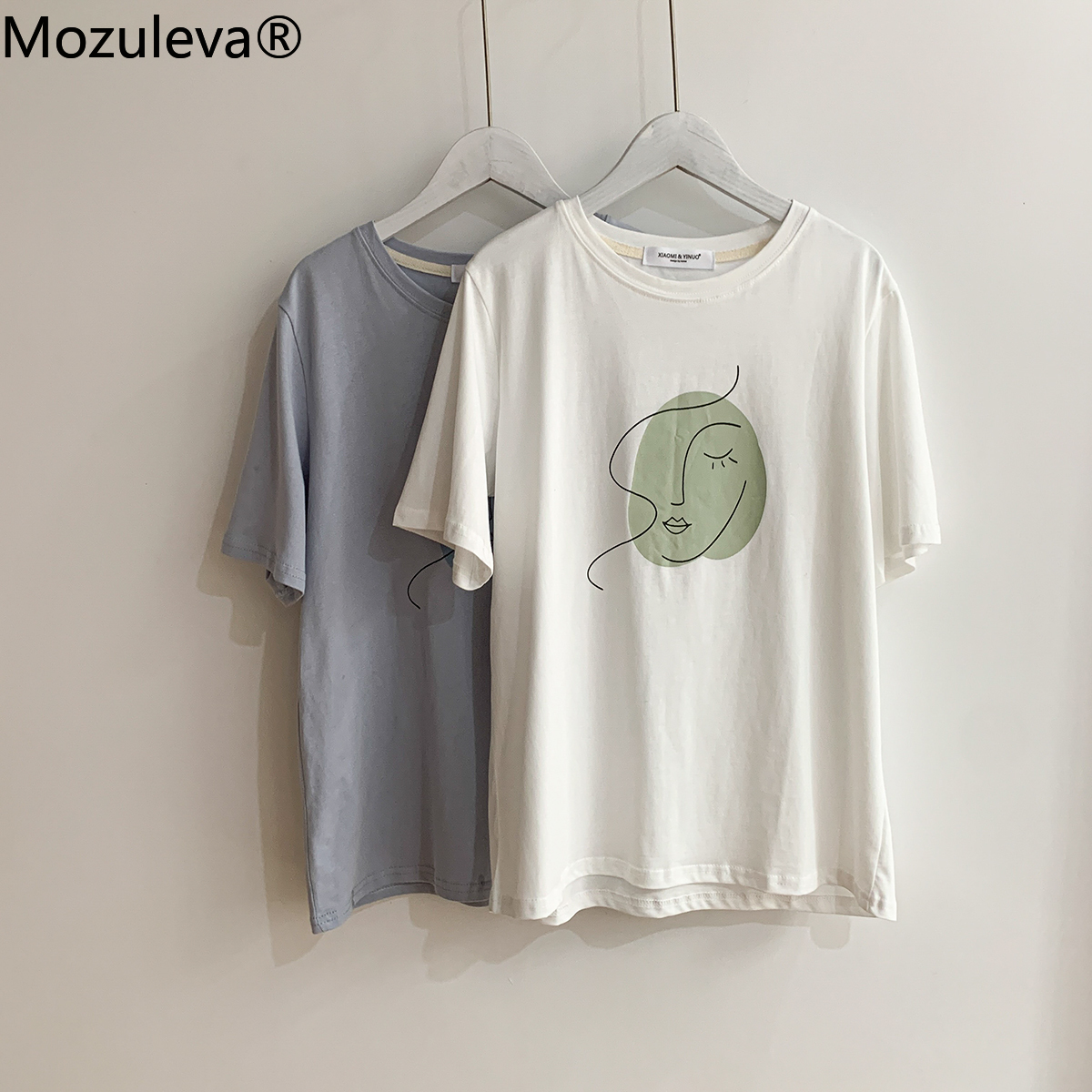 Mozuleva Summer T-shirt 2021 O-neck Abstract Art Printing Tops Short Sleeve Loose Cotton T-shirt Women Chic Girls Harajuku Tees