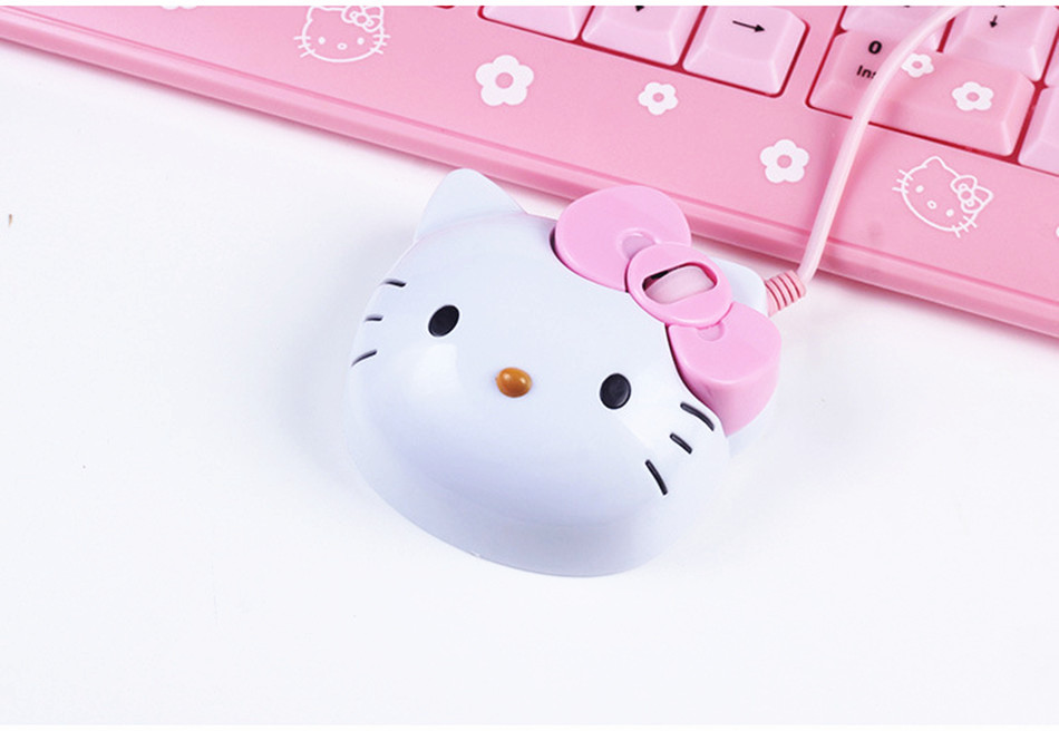 Hello Kitty 3D Wired Mouse USB 2.0 Pro Gaming Optical Mice For Computer PC Pink