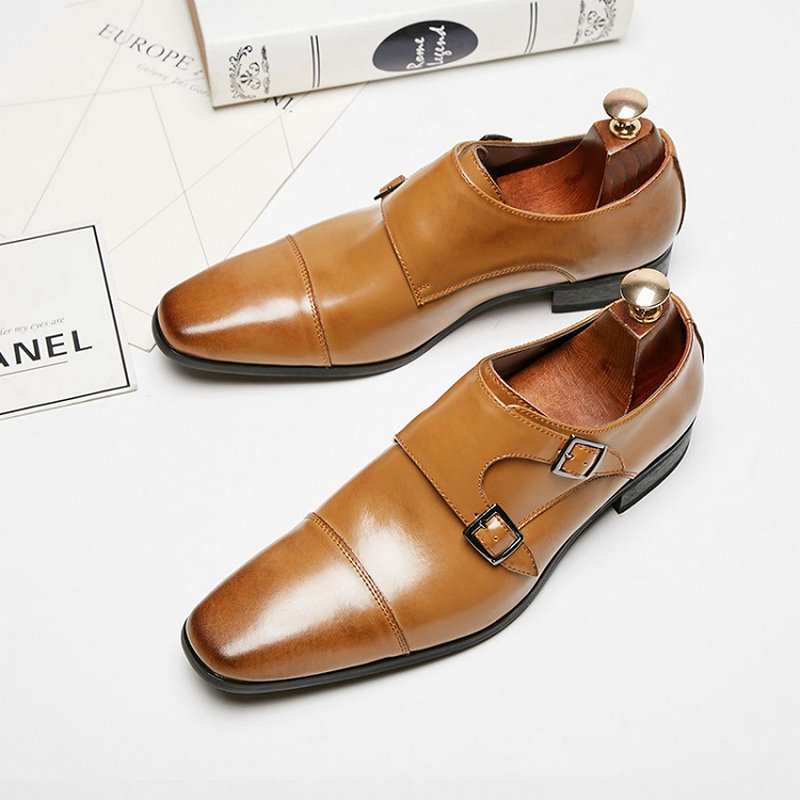 Brand Classic Men Monk Strap Shoes Dress Shoes Patent Leather Wedding Mens Oxford Formal Shoes Gradual Color Loafer TA-05