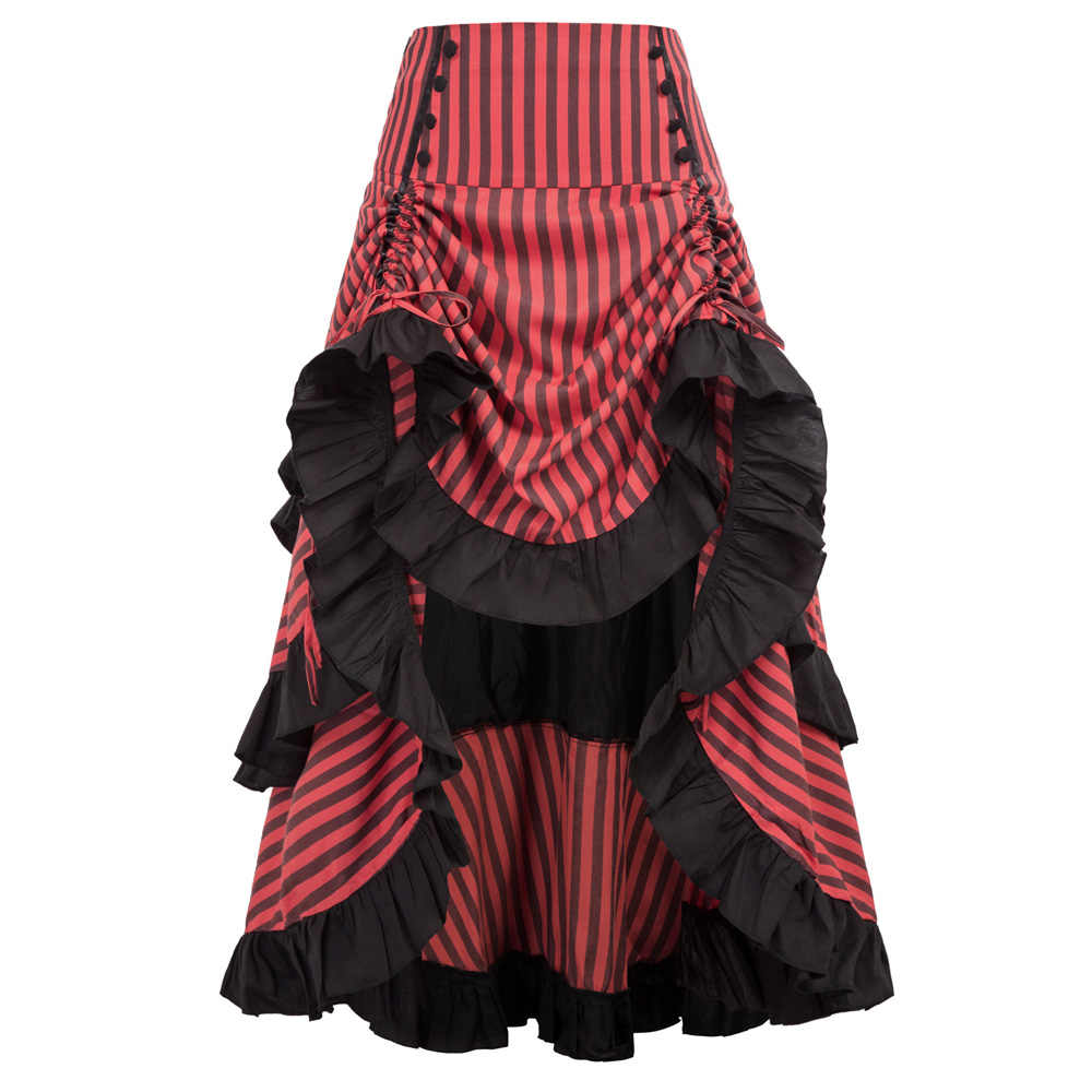 Belle Poque High-Low Skirt Vintage Style Striped Gathered Cocktail Gothic Retro