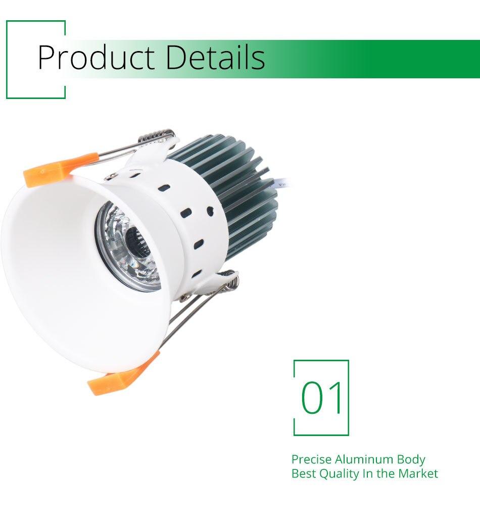 12W 85-265V AC Ceiling Light White Aluminnum Indoor Lighting Led downlight Dimmable COB Spot Lamp Knob Switch Foyer Spotlights (11)