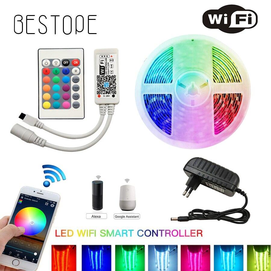 IR wifi LED bande étanche 5M 15M 20M RGB LED bande lumineuse 5050 RGB 30 LED s/M Flexible éclairage ruban contrôleur adaptateur