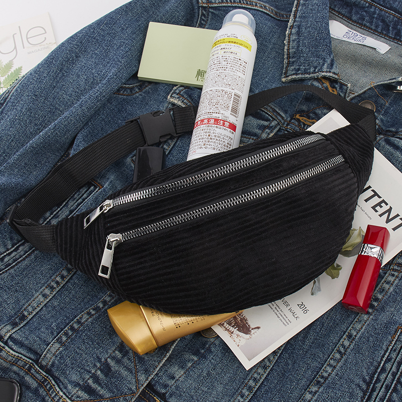 DIZHIGE  Fashion Corduroy Fanny Pack Women Waist Bag Belt Money Travel Sport Bum Bag Bags For Women 2019 Chest Bag